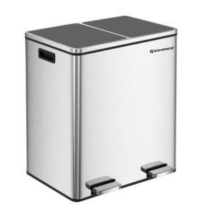 SONGMICS Double Recycle Garbage Bin stainless steel
