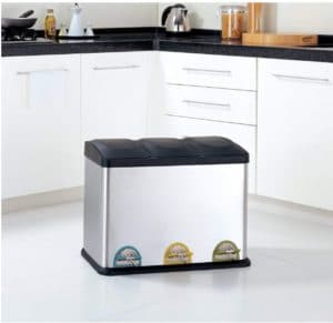 3 Compartment Step-On Recycling Trash Can