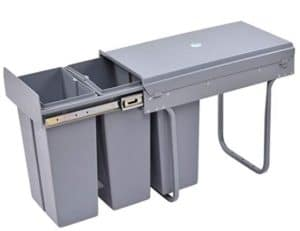 3 Component Garbage Sorter Pull-Out Trash Can with Slides