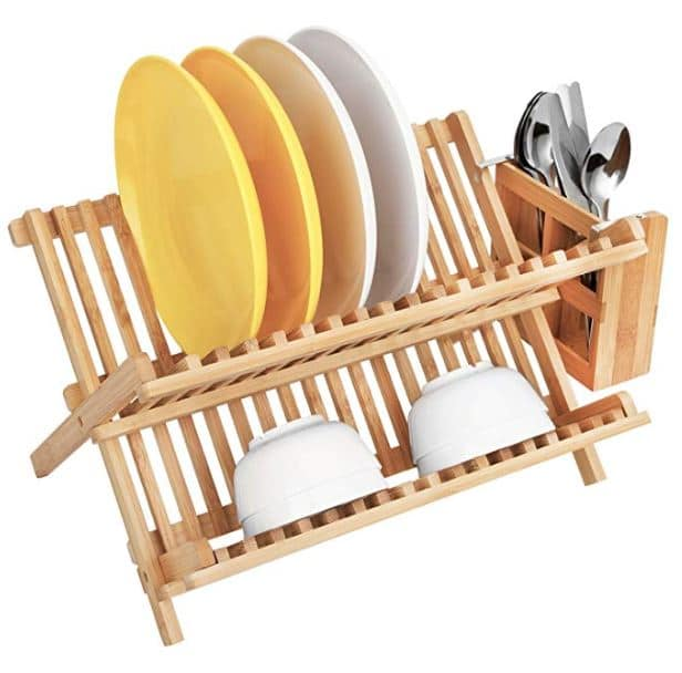 HBlife Dish Rack, Bamboo Folding 2-Tier Collapsible Drainer Dish Drying Rack With Utensils Flatware Holder Set
