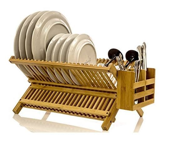 Intriom Bamboo Folding 2-Tier Collapsible Drainer Dish Drying Rack With Utensils Flatware Holder Set